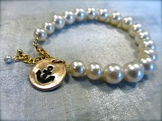 @2hands studios vintage pearl and reclaimed bronze anchor charm bracelet