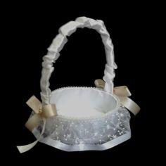 CE_55 Cesta Blanco Ivory o # bodas para arras anillos o petalos