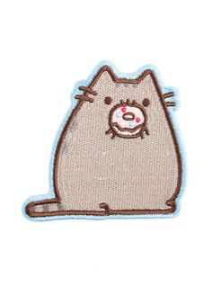 """Heat sealed embroidery patch from Pusheen The Cat featuring Pusheen nom nom nomming on a frosted donut. Patch can also be sewn on.   Approx. 3 1/2"""" x 3"""" Imported"""