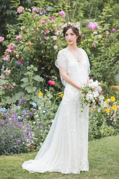 Azalea by Jenny Packham and a Delicate Floral Crown for a Bohemian Meets Edwardian Style Wedding At Emmanuel College, Cambridge http://www.mandjphotos.com/