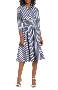 A crisp bodice with three-quarter-length cuffed sleeves gives way to a ruffle-trimmed smocked waist and flowy skirt on this polished striped dress. Style Name:Eliza J Stripe Midi Shirtdress. Style Number: Available in stores. Blue Dress Outfits, Blue Summer Dresses, Summer Dresses For Women, Outfit Summer, Dress Summer, Blue Dresses, Women's Dresses, Gauze Dress, Flowy Skirt