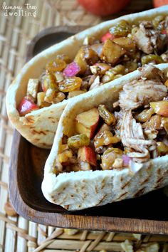 Harvest Chicken Salad Pita with apples, walnuts, feta cheese, golden raisins, and a sweet balsamic dressing