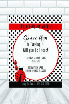 Denim diamond invitationprinted invitations or printable file ladybug themed party invitation instant digital download or diy red and black solutioingenieria Choice Image