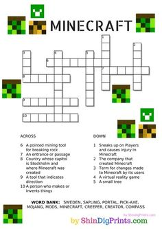 Minecraft Crossword Printable Free Minecraft Crossword Printable - Farmer's Wife RamblesPrintable Printable (noun: printability) usually refers to something suitable for printing: Minecraft Activities, Minecraft Crafts, Activities For Kids, Crafts For Kids, Free Minecraft Printables, Lego Minecraft, Minecraft Skins, Minecraft Buildings, Stem Activities