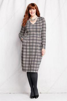 4455b4ed5bf Women s Plus Size Pattern Drapey V-neck Pleated Ponté Dress from Lands  End