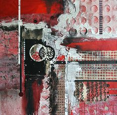 Pretty In Red 2 by Carol Staub Mixed Media on Canvas ~ 36 x 36