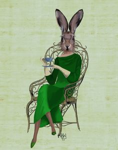 Lady Bella Taking Tea 14x11 Illustration Print, Art Print, Poster, Deer Print, Rabbit Print, Kids Room Decor Wall Decor Rabbit Decor