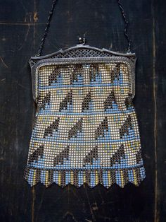 20's deco Bag/ Whiting & Davis/ FLAPPER/ Early by SararaVintage
