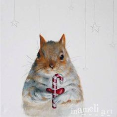 Christmas Squirrel Art, winter original painting, whimsical christmas decorations, woodland creature art by inameliart