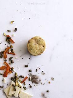 Orange, Cardamom, Pistachio & White Chocolate Shortbread