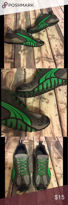 Black, Gray trimmed in Green size 8 Black, Gray trimmed in Green size 8 -(minor signs of wear of front ) please see photos-(trust me it's not gym just light peeling) -clean inside( no odor) -happy to answer questions-fast shipper Puma Shoes Sneakers