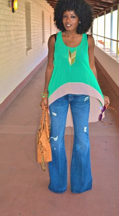 Style Pantry | Leather Cape + Color Block Chiffon Tank + Bell Bottom Jeans
