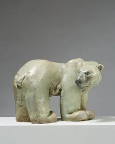 Sculpture 'Polar Bear' designed by Michael Schilkin for Arabia, — Modernity Bear Design, Stoneware, Lion Sculpture, Artsy, Polar Bears, Ceramics, Statue, Finland, Artwork