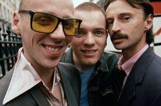 Ewen Bremner, Ewan McGregor and Robert Carlyle in Trainspotting directed by Danny Boyle, 1996