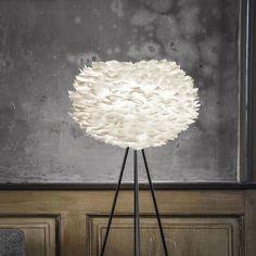EOS - Lampadaire Plume Blanc/Trépied Noir H139cm - Lampadaire Vita designé par William Ravn