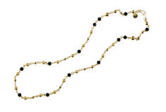 """Raven- 39.5"""" Faceted black glass beads blend with textured, shiny gold beads on this delicate gold chain. This especially versatile piece can be worn long or short, as a bracelet or boot bling, or layered as a necklace or belt with another piece like Elegance or Entangled. $49 #raven #yourstylemialisia"""