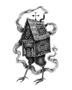 Dark Art Illustrations, Fantasy Illustration, Spooky House, Witch House, Baba Yaga House, Teapot Tattoo, Russian Tattoo, Statue Tattoo, Drawing Journal