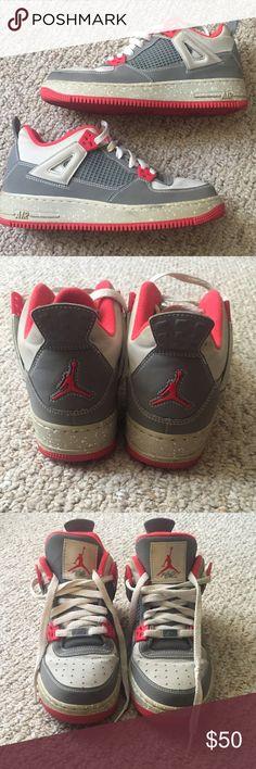 9121a6e02686 Nike Jordan Flight Sneakers Grey   Orange Red Nike Jordan Flight Sneakers
