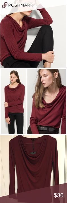Massimo Dutti Draped Neck Top This is such a pretty top! It is a gorgeous burgundy color and the draped neckline is super pretty! This is made by Massimo Dutti and was purchased abroad! Brand new with tags, but sadly does not fit me :(! This is a size S and is a 70% viscose and 30% mulberry silk! It is so soft and feels luxurious on, even if it is just a basic top! Great quality top! Massimo Dutti Tops