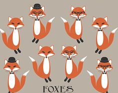 50% Off Sale - Fox Clip Art, Woodland Animal Clip Art, Baby Shower Clip Art, Royalty Free Clipart, Hipster, Instant Download