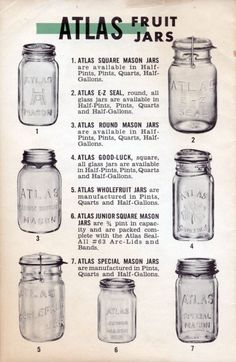 Atlas mason jars for home canning - Healthy CanningYou can find Canning jars and more on our website.Atlas mason jars for home canning - Healthy Canning Wine Bottle Crafts, Mason Jar Crafts, Mason Jar Diy, Mason Jar Sizes, Chalk Paint Mason Jars, Painted Mason Jars, Bottles And Jars, Glass Jars, Milk Glass