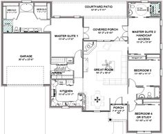 house plans with three master suites | Details about Complete House Plans- 2306 sq ft-- 2 masters + ADA bath