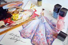 Artista usa esmaltes para fazer suas ilustrações