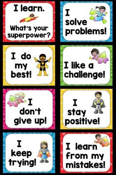 Very First Growth Mindset Posters: Designed to help students understand and celebrate the importance of problem solving, perseverance and learning from their mistakes.Tap The Link And Save up to On Our Massive Sale! Superhero School, Superhero Classroom Theme, Classroom Rules, Classroom Themes, Superhero Bulletin Boards, Classroom Posters, Growth Mindset Posters, Growth Mindset Classroom, Growth Mindset Display