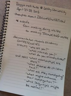 Documentation someones thoughts from the Reggio Emilia conference at Lesley University Inquiry Based Learning, Project Based Learning, Early Learning, Reggio Children, Reggio Classroom, Classroom Ideas, Classroom Inspiration, Reggio Emilia Approach, Emergent Curriculum