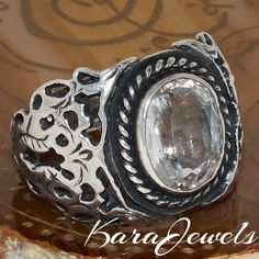 Mens Ring 925 Sterling Silver natural white Topaz unique handcrafted jewelry #KaraJewels #Handmade