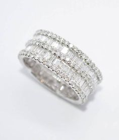 18k White Diamond Wedding Band with 5 rows of Diamonds. Total weight 4.08 ct.