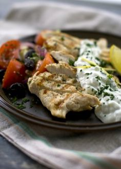 Lemon Chicken ''Steaks'' with Summer Salad and Tzatziki - easy healthy meal from Arizona Republic
