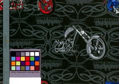 American Choppers Fabric by the Yard Harley Davidson Fussy Cut Crafting Quilting Sewing Biker Harley Décor Wall Hanging Art Swing a leg over