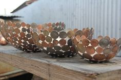 Have a bowl made from your old coins as a memento of your travels, or a remembrance piece from times past.    They are made from your coins, lovingly