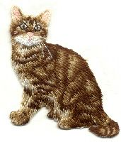 CAT BROWN FULLY EMBROIDERED IRON ON APPLIQUE