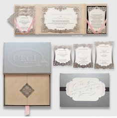 Luxury Wedding Invitations by Ceci New York - Our Muse - Laser-cut Mexico Beach Wedding - Be inspired by Kim & Jerad's silver Mexican wedding - laser-cut, emblem, metal, silver, monogram, calligraphy, box, hand, invitation, ribbon, gatefold, letterpress, foil stamp, one&only, palmilla, mexico, los cabos, stacked cards, schedule, events