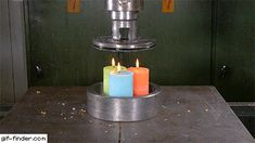Crushing candles with Hydraulic Press