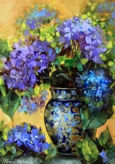 Blue Summer Hydrangeas by Floral Artist Nancy Medina, original painting by… Paintings I Love, Beautiful Paintings, Watercolor Flowers, Watercolor Art, Art Bleu, Still Life Flowers, Action Painting, Arte Floral, Contemporary Paintings