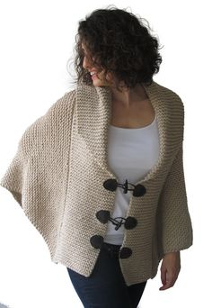 Plus Size Hand Knitted Ecru Poncho with Leather Rope by Afra on Etsy