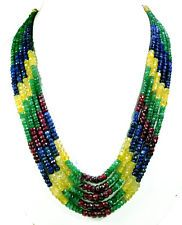 5 Strands Natural Ruby Emerald Sapphire 534ct Multi Row Gemstone Beaded Necklace