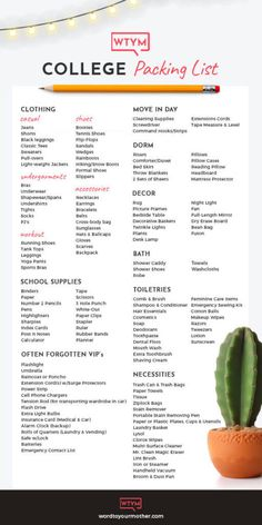 The Ultimate College Packing List For Girls: Printable College Checklist For Freshman Year! If you're packing for college this list covers all the bases! From what clothes to pack for college to dorm College Dorm List, College Dorm Checklist, College Dorm Essentials, College Dorm Rooms, College Hacks, Packing Checklist, University Checklist, Dorm Room List, Uni Room
