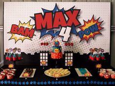 Superhero party dessert table.