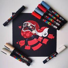 On est en octobre, c'est Inktober ! - Posca - Posca Posca Marker, Marker Art, Sketchbook Inspiration, Art Sketchbook, Art Sketches, Art Drawings, Stylo Art, Doodle Characters, Albedo