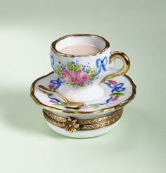 Limoges Cup Saucer with Roses Box