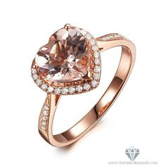 Heart Shaped Morganite Diamond Pave Halo Rose by IturraldeDiamonds