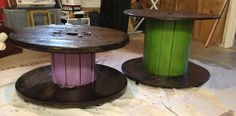 Electric wire spools - pink and green w/ dark stain on top/bottom