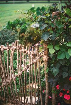What a pretty garden gate. When cleaning up the yard this fall, hang onto some of the branches and sticks falling.