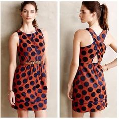 NEW Anthropologie Polka Dot Rokin Dress by Maeve NWOT, never worn orange and blue polka dot dress by Maeve by Anthropologie. So unique and flattering. Selling because I never got an occasion to wear this. Never worn and true to size. Retails for $168. Offers welcome. Anthropologie Dresses