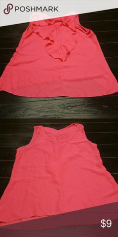 Ruffle Bow High-Low Tank NWOT Hot pink, polyester. Bow cascades down the back of the shirt Tops Tank Tops