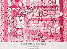 A super cute & fun Valentine's digital scrapbook kit. Love the traditional valentine colors. Can we say pink?! By SuzyQ Scraps. Mini kit add-on also available, at Etsy.